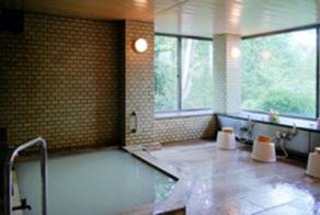ガラス一面緑が広がる大風呂
